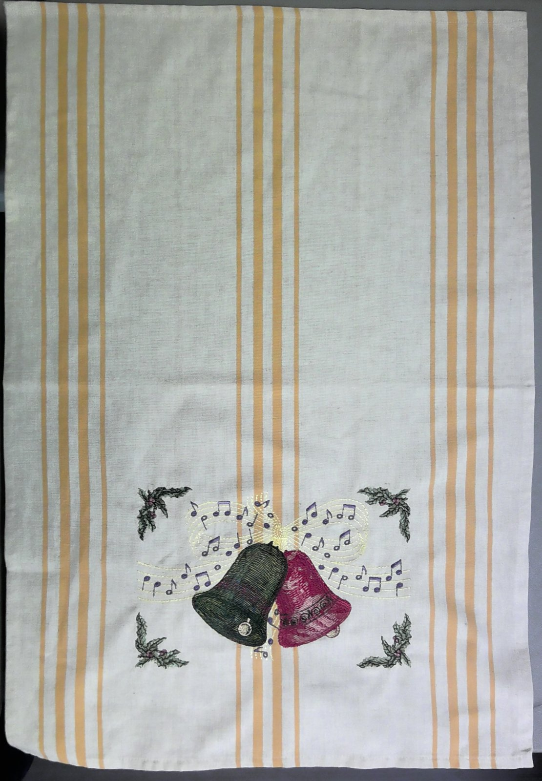 Towel Embroidered with Bells and Ribbon