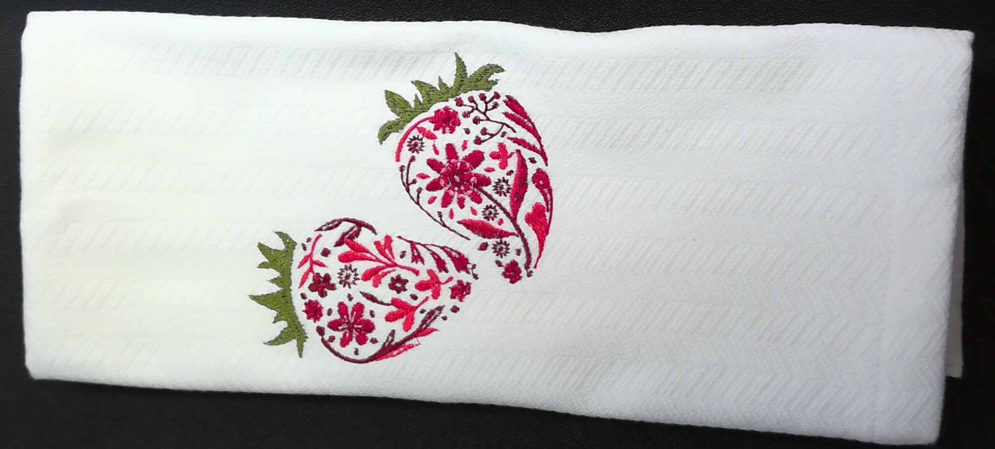 Floral Fruit Towel embroidered with Strawberries