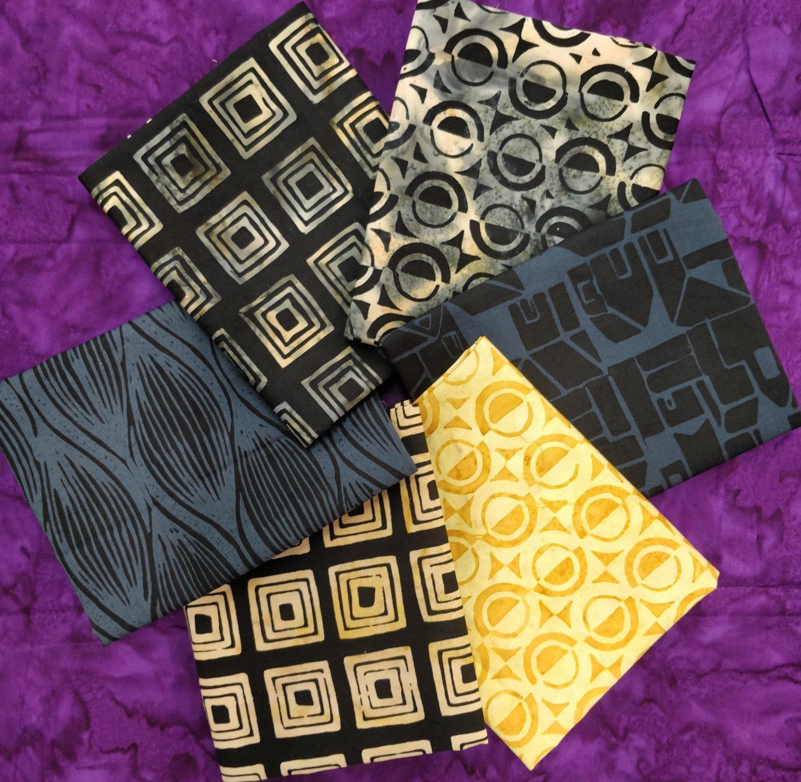 837026 Black/Gold Fat Qrt. Bdle - 6 fabrics $18.00