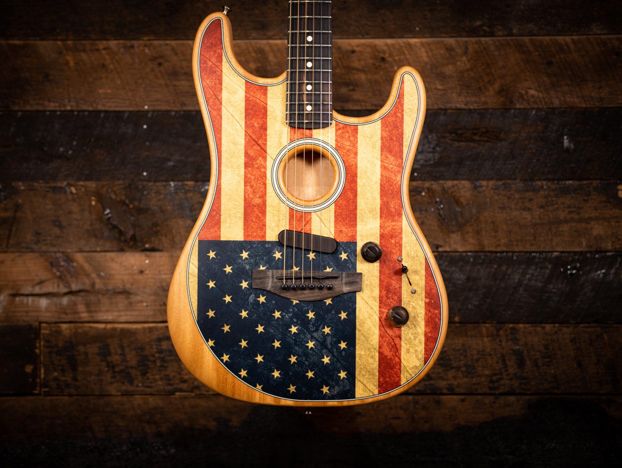Fender AMERICAN ACOUSTASONIC STRATOCASTER FLAG PRINT