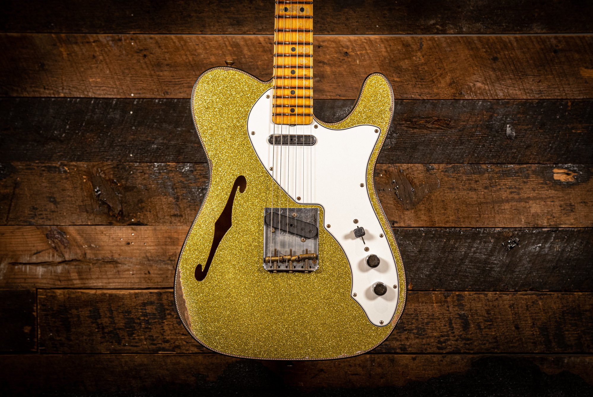 Fender Custom Shop Limited 1960 Tele Custom Thinline Relic in Aged Chartreuse Sparkle