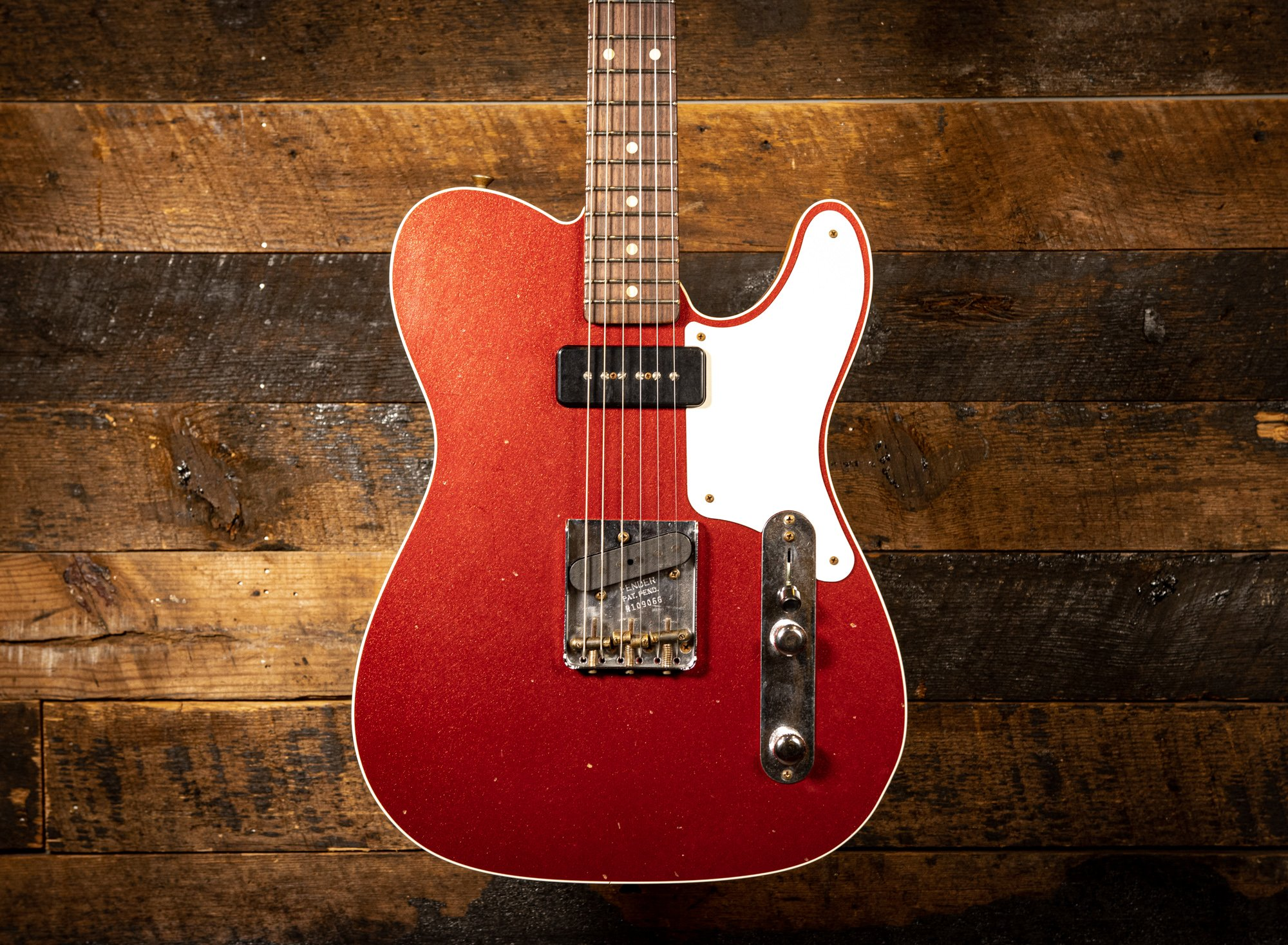 Fender Custom Shop 1963 P90 Mahogany Telecaster Journeyman relic in Aged Firemist Red Limited Edition