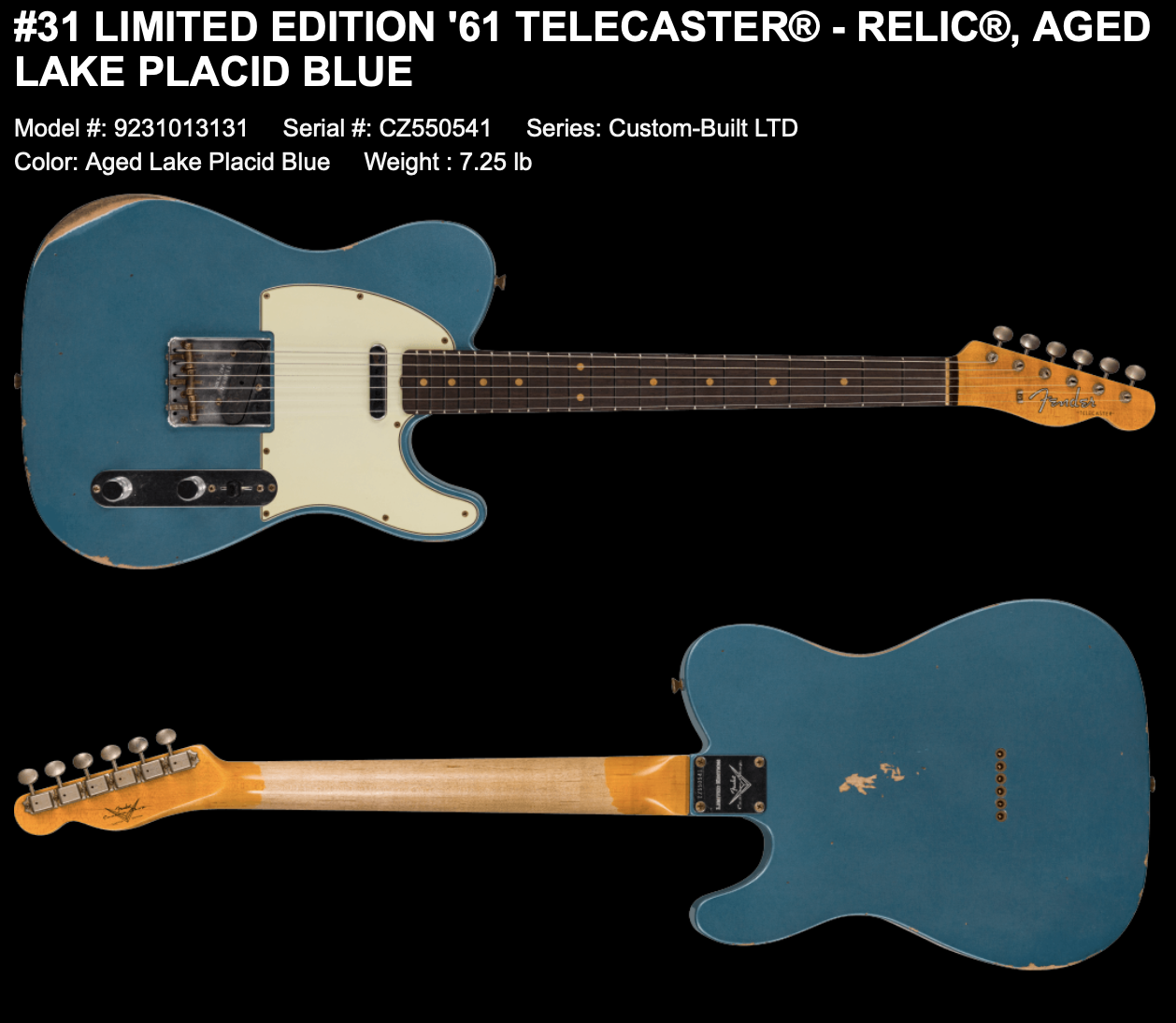 (PRE-ORDER) FENDER CUSTOM SHOP LIMITED EDITION '61 TELECASTER RELIC IN AGED LAKE PLACID BLUE
