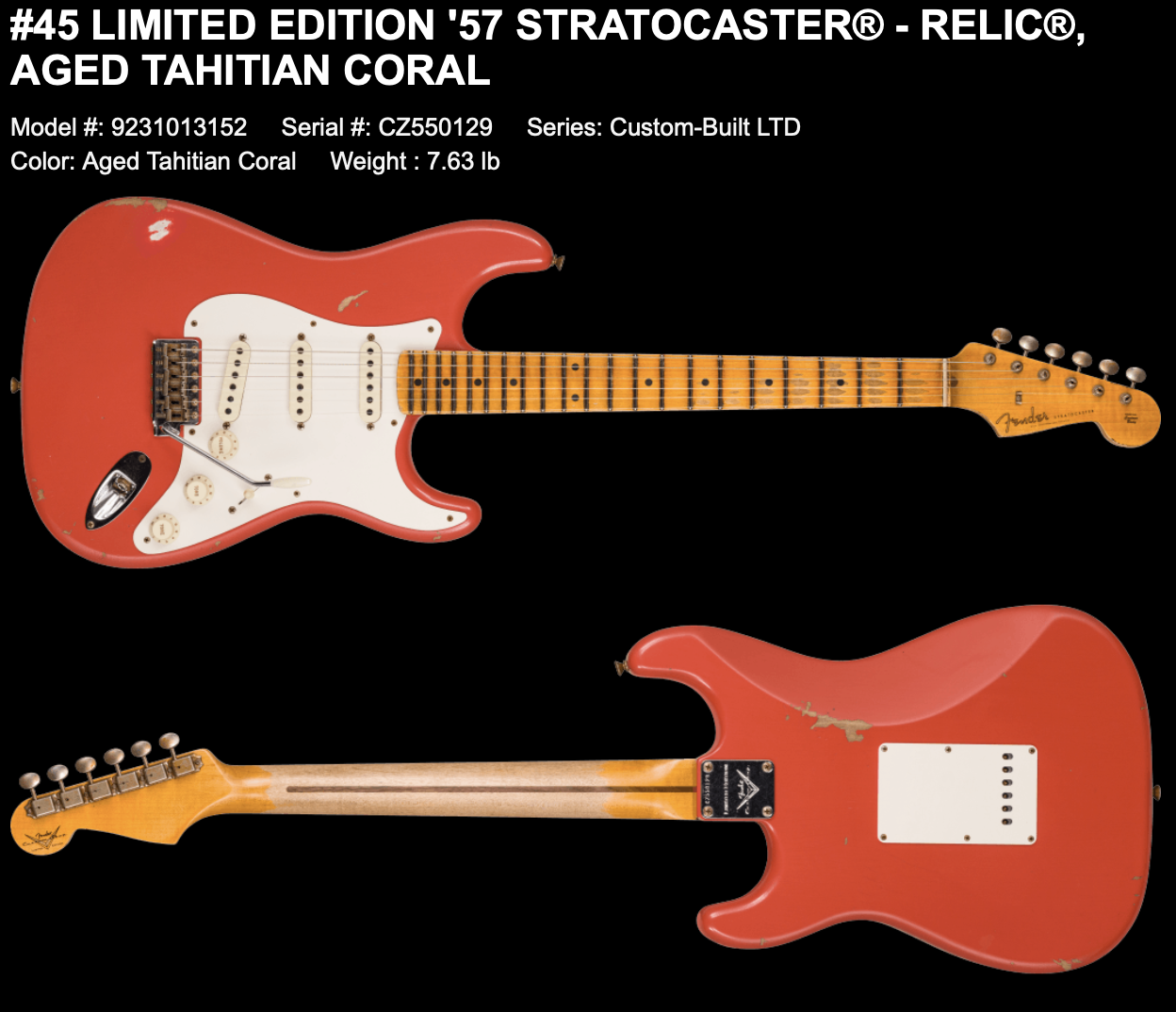 (PRE-ORDER) FENDER CUSTOM SHOP LIMITED EDITION '57 STRATOCASTER RELIC IN AGED TAHITIAN CORAL
