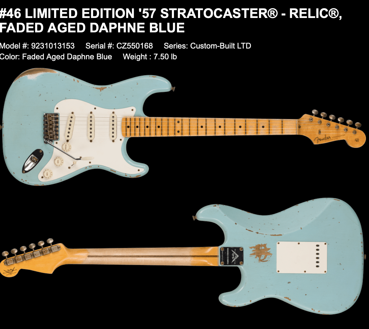 (PRE-ORDER) FENDER CUSTOM SHOP LIMITED EDITION '57 STRATOCASTER RELIC IN FADED AGED DAPHNE BLUE