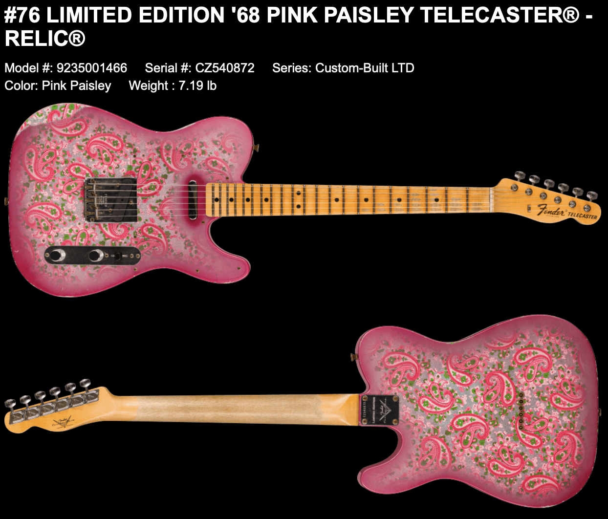 (PRE-ORDER) FENDER CUSTOM SHOP LIMITED EDITION '68 PINK PAISLEY TELECASTER RELIC
