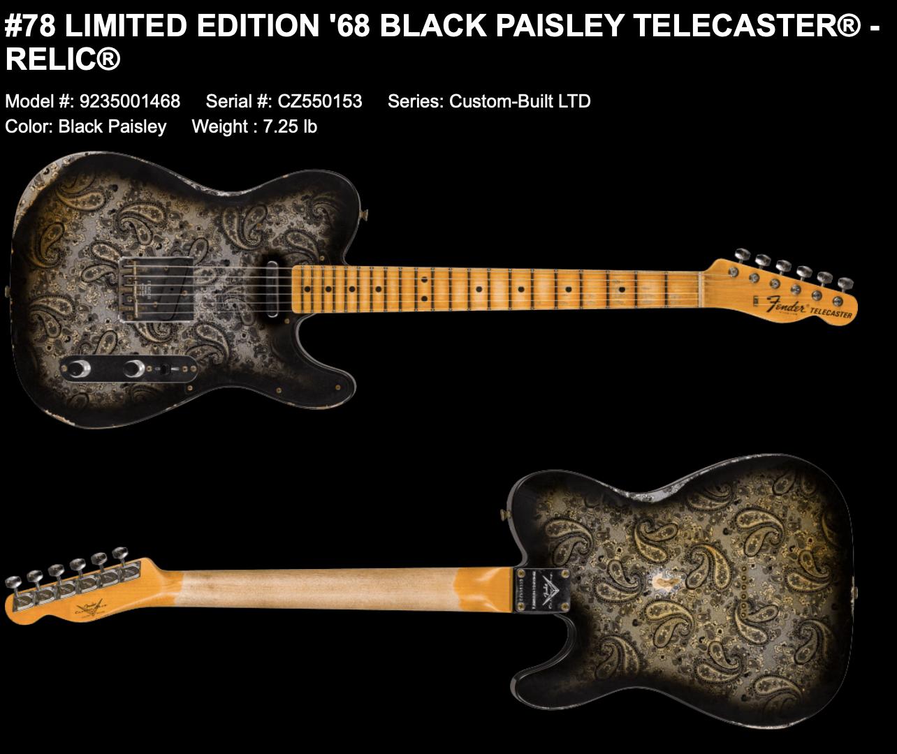 (PRE-ORDER) FENDER CUSTOM SHOP LIMITED EDITION '68 BLACK PAISLEY TELECASTER RELIC