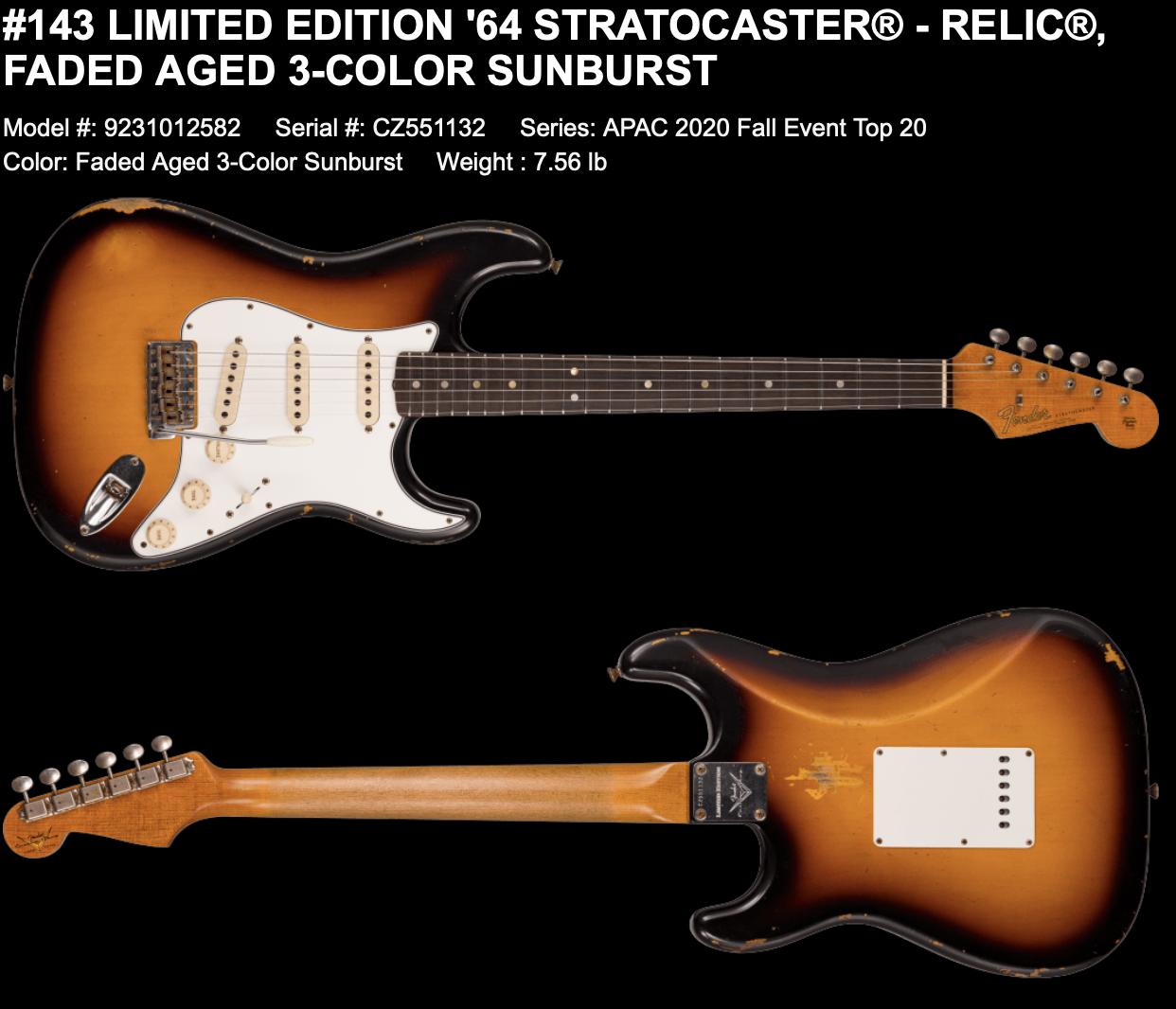 (PRE-ORDER) Fender Custom Shop Limited LIMITED EDITION '64 STRATOCASTER RELIC FADED AGED 3-COLOR SUNBURST
