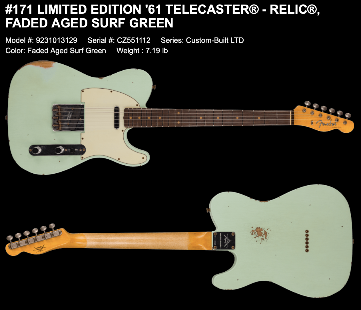 (PRE-ORDER) FENDER CUSTOM SHOP LIMITED EDITION '61 TELECASTER RELIC IN FADED AGED SURF GREEN