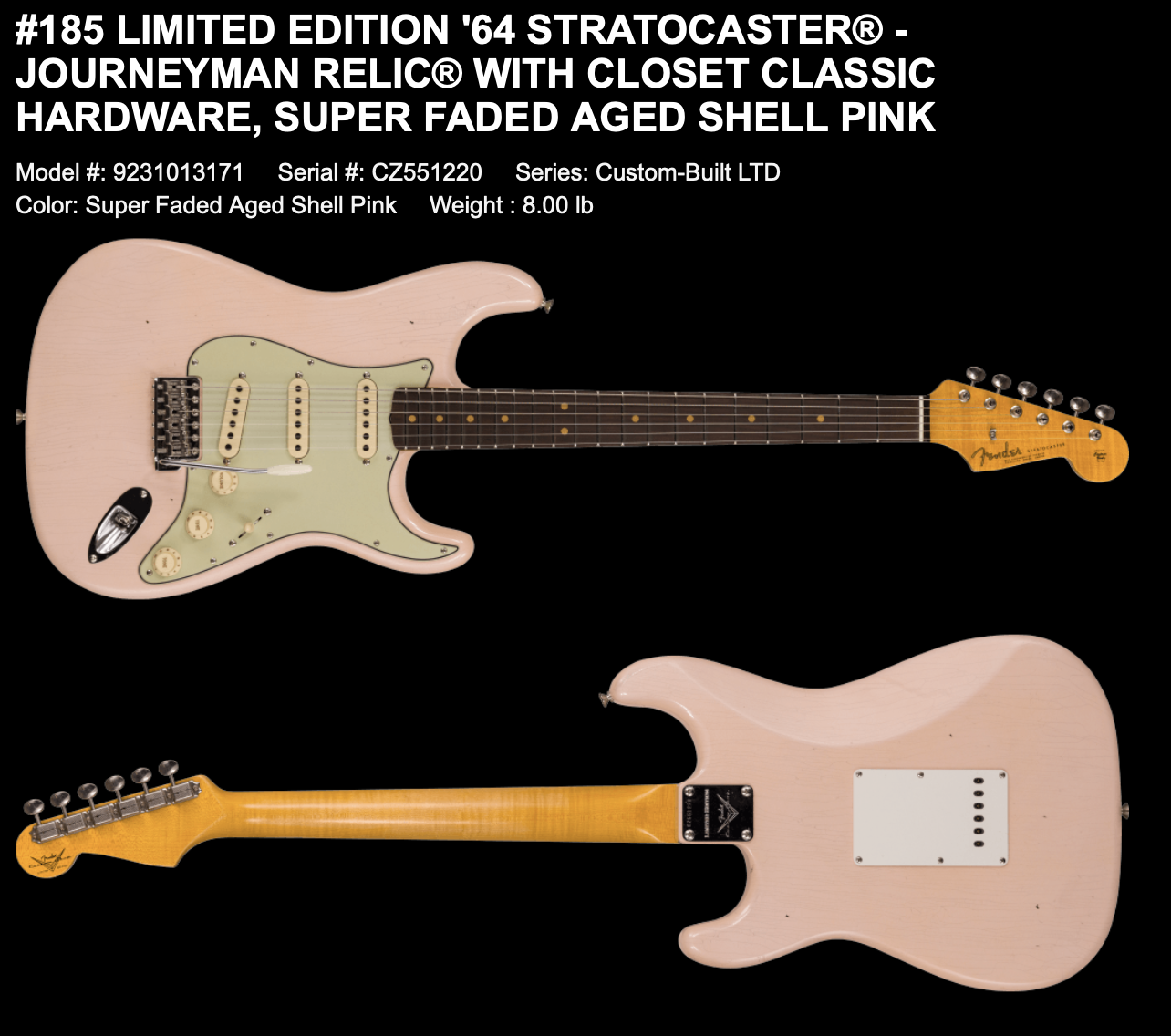 (PRE-ORDER) FENDER CUSTOM SHOP LIMITED EDITION '64 STRATOCASTER JOURNEYMAN RELIC WITH CLOSET CLASSIC HARDWARE IN SUPER FADED AGED SHELL PINK