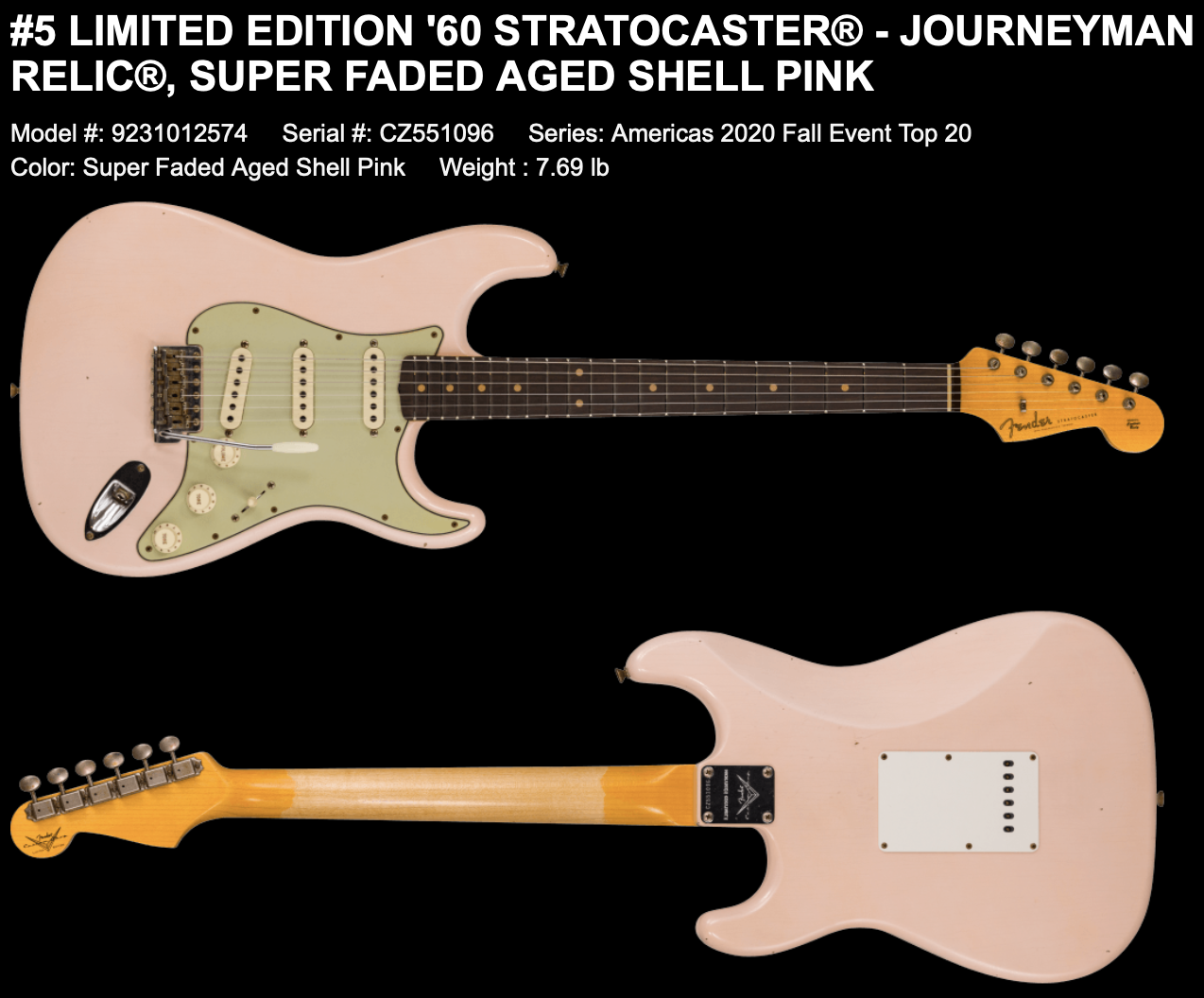 (PRE-ORDER) Fender Custom Shop Limited 1960's Journeyman Relic Stratocaster in Shell Pink