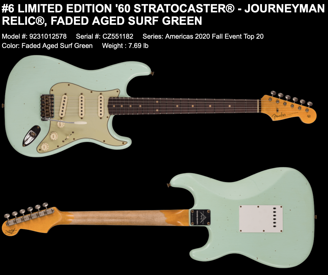 (PRE-ORDER) Fender Custom Shop Limited 1960's Journeyman Relic Stratocaster in Faded Aged Surf Green