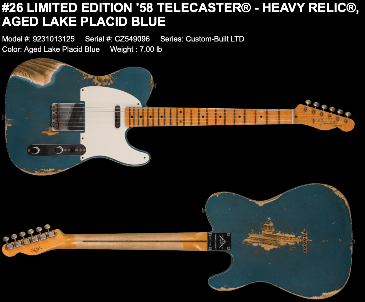 (PRE-ORDER) Fender Custom Shop LIMITED EDITION '58 TELECASTER  HEAVY RELIC In AGED LAKE PLACID BLUE