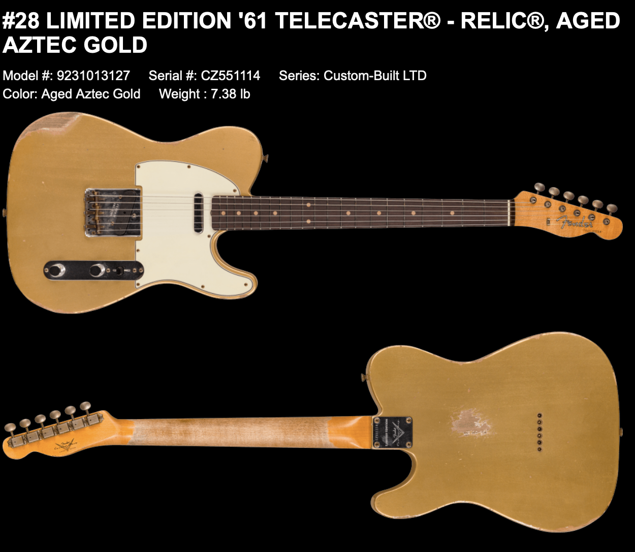 (PRE-ORDER) FENDER CUSTOM SHOP LIMITED EDITION '61 TELECASTER  RELIC IN AGED AZTEC GOLD