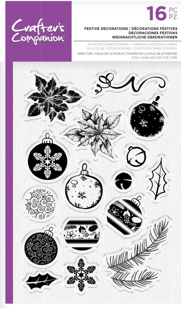 Crafter's Companion Clear Stamp, Festive Decorations