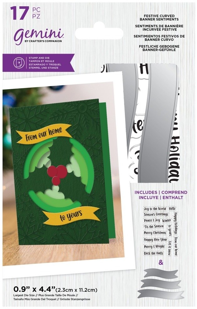 Crafter's Companion Gemini Stamp & Die Set, Festive Curved Banner Sentiments