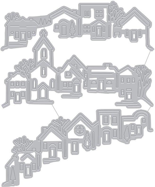 Hero Arts Die, Fancy - Tri-fold Edge Village (F)