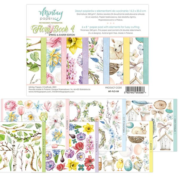 Mintay Paper Floral Book 4 Cut Out Pad 6x8