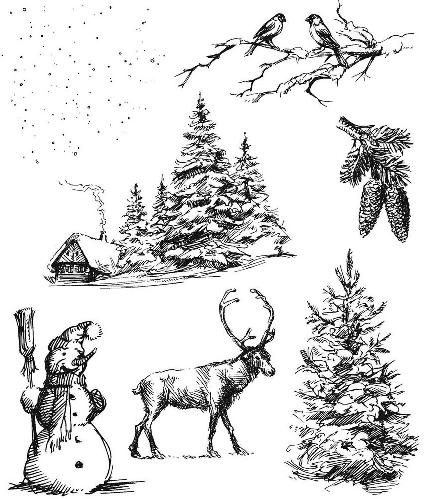Stampers Anonymous Cling Stamp, Winterscape by Tim Holtz
