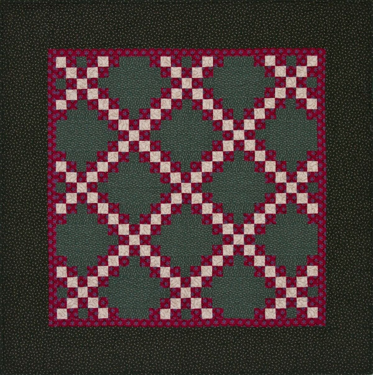 Irish Chain Red and Green Kit Includes Backing