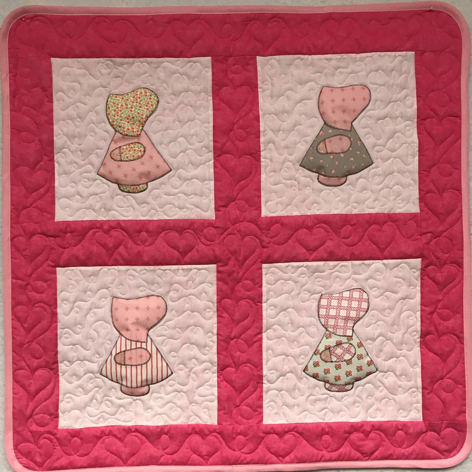 Lil' Dutch Doll Girl Baby Quilt Pinks