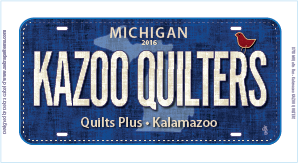 Kazoo Quilters Fabric License Plate