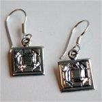 Churn Dash Mini Earrings on Hook