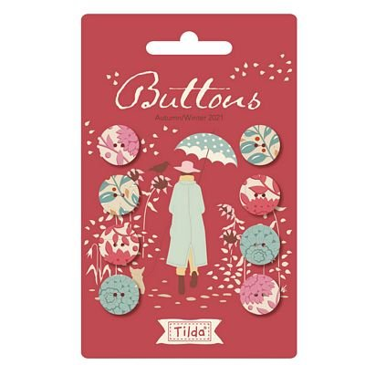 Pre-Order Tilda Windy Days Buttons - RED (8 pcs 16mm)