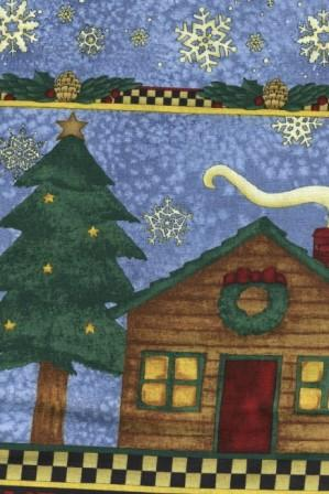 Cabin Scene with Snowflakes on Blue