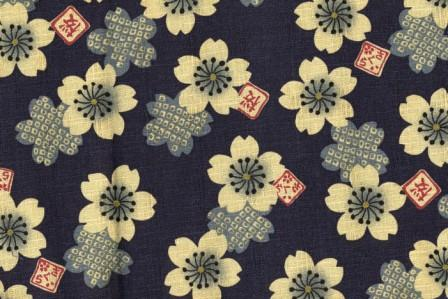 Blue Floral Oriental Fabric