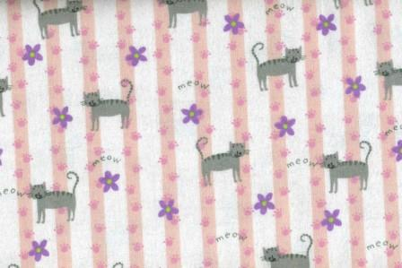 Cats on Pink and White Striped Flannel with Paws