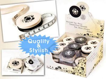 Black & Cream Retractable Tape Measure 150