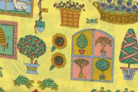 Garden items on yellow