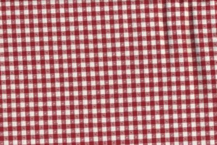 Red and White Cotton Ticking Red Star 58 Wide