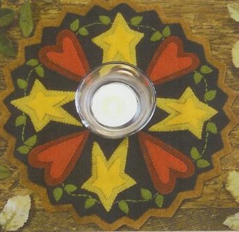 Folk Art Hearts and Stars Candle Mat #166