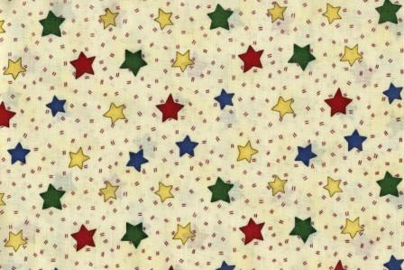 Primary colored stars on a cream background