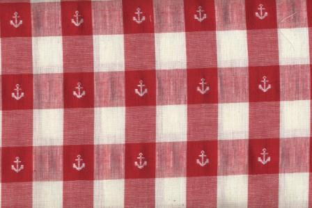 Red and White Check with Anchors 60 Wide