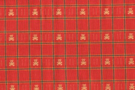 Red and Green Check with Teddy Bears 60 Wide