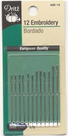 Dritz Embroidery Needles Sizes 1/5 12 ct #56E-1-5