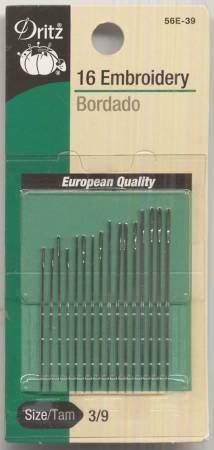 Dritz Embroidery Needles Sizes 3/9 16 ct  #56E-3-9