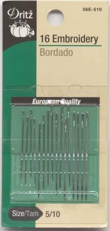 Dritz Embroidery Needles Sizes 5/10 16 ct #56E-5-10