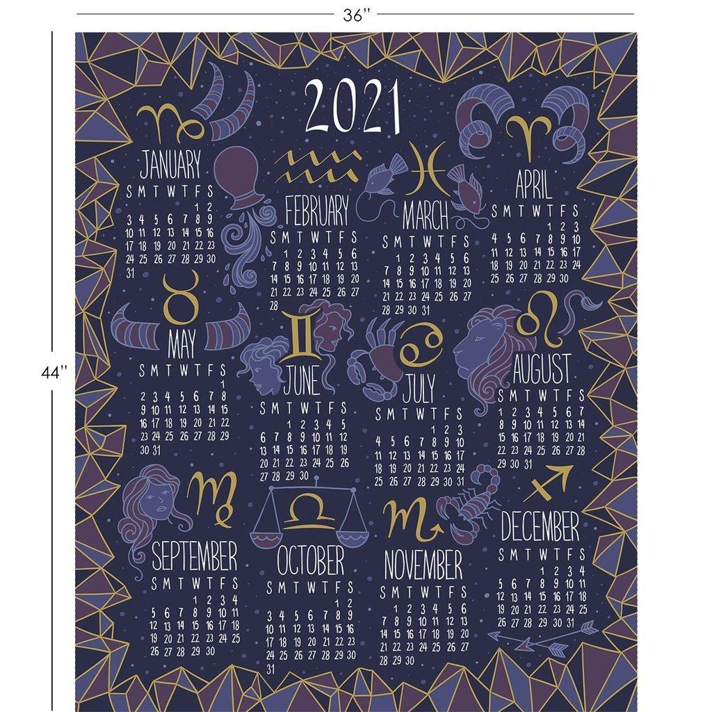 Camelot Written in The Stars - Zodiac 2021 Calendar Panel in Purple w/ Gold Metallic