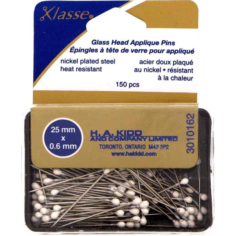 Klasse' Glass Head Appliqué Pins White - 25mm (1in) - 150 pcs