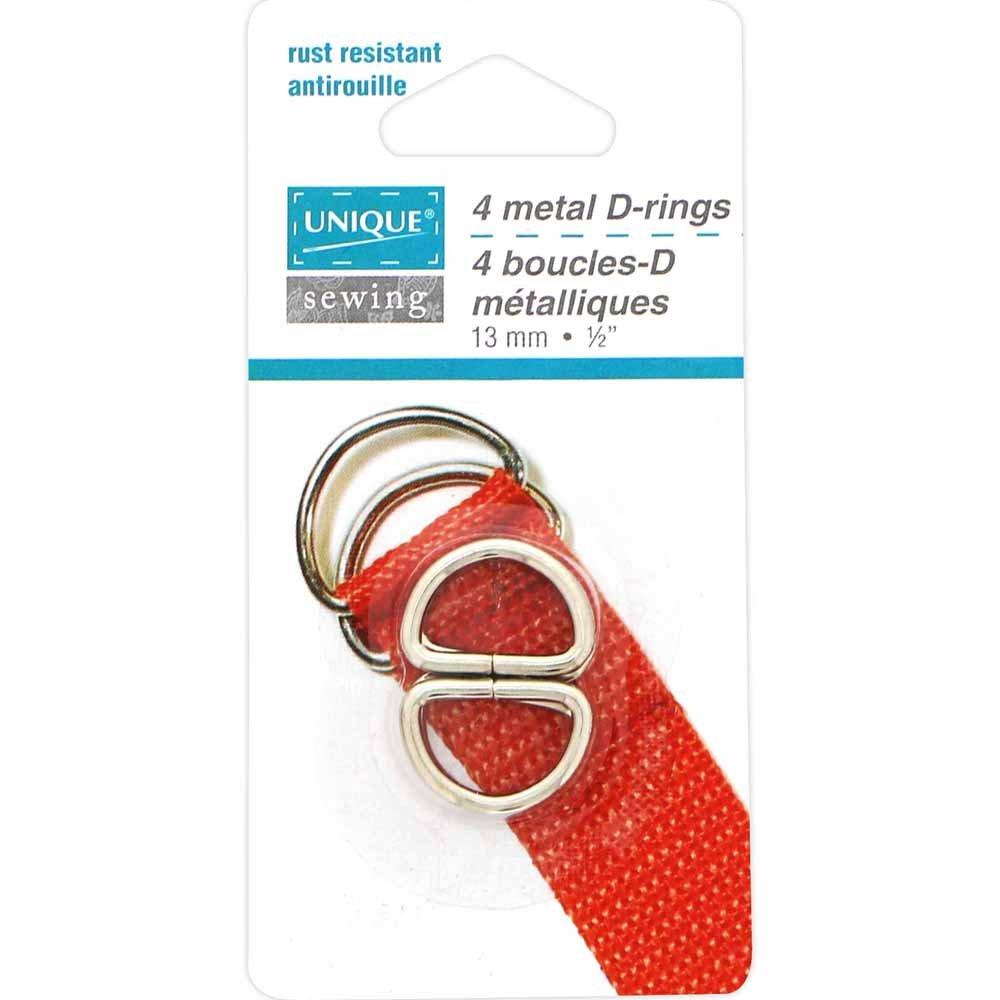 Pack of 4 Unique Nickel D-rings 13mm