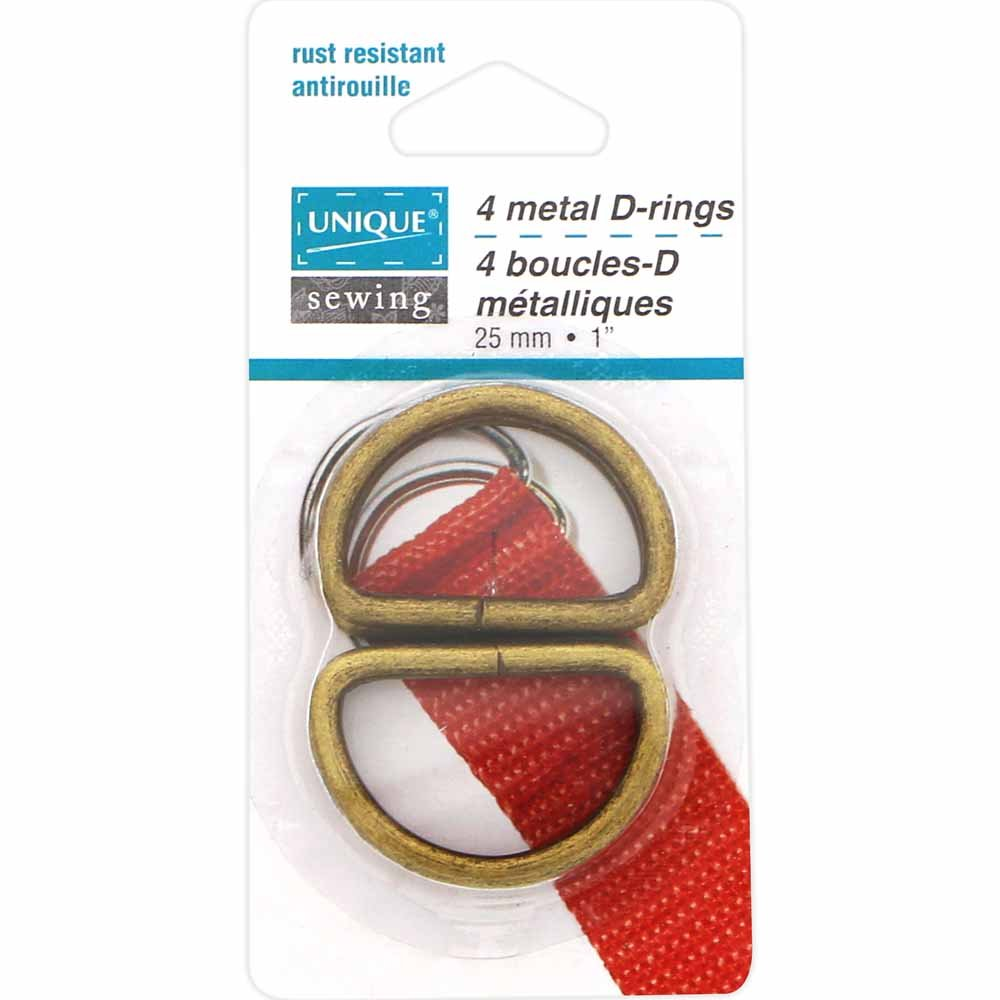 Pack of 4 Unique D-Rings, Antique Gold, 25mm (1)