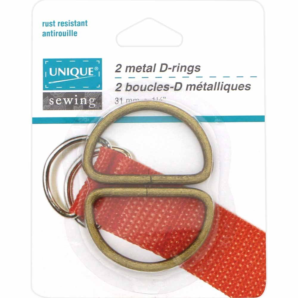 Pack of 2 Unique D-Rings, Antique Gold,1 1/4in-31mm