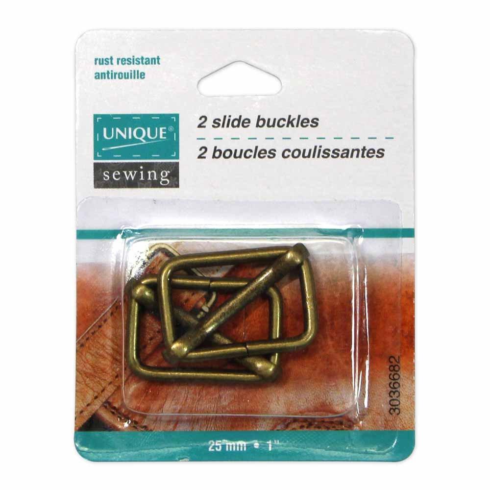 Pack of 2 Unique Adjustable Slide Buckles, Antique Gold, 25mm