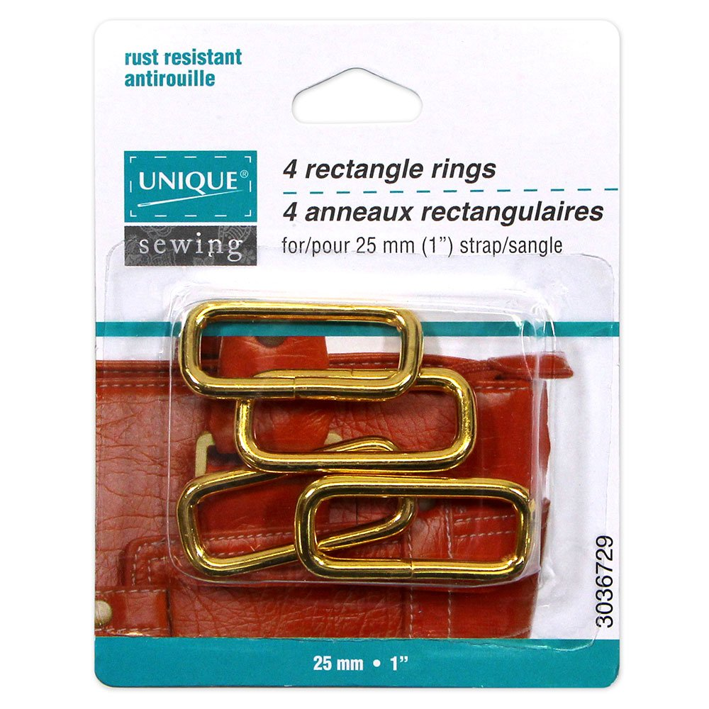 Pack of 4 Unique Rectangle Rings, Gold, 25mm