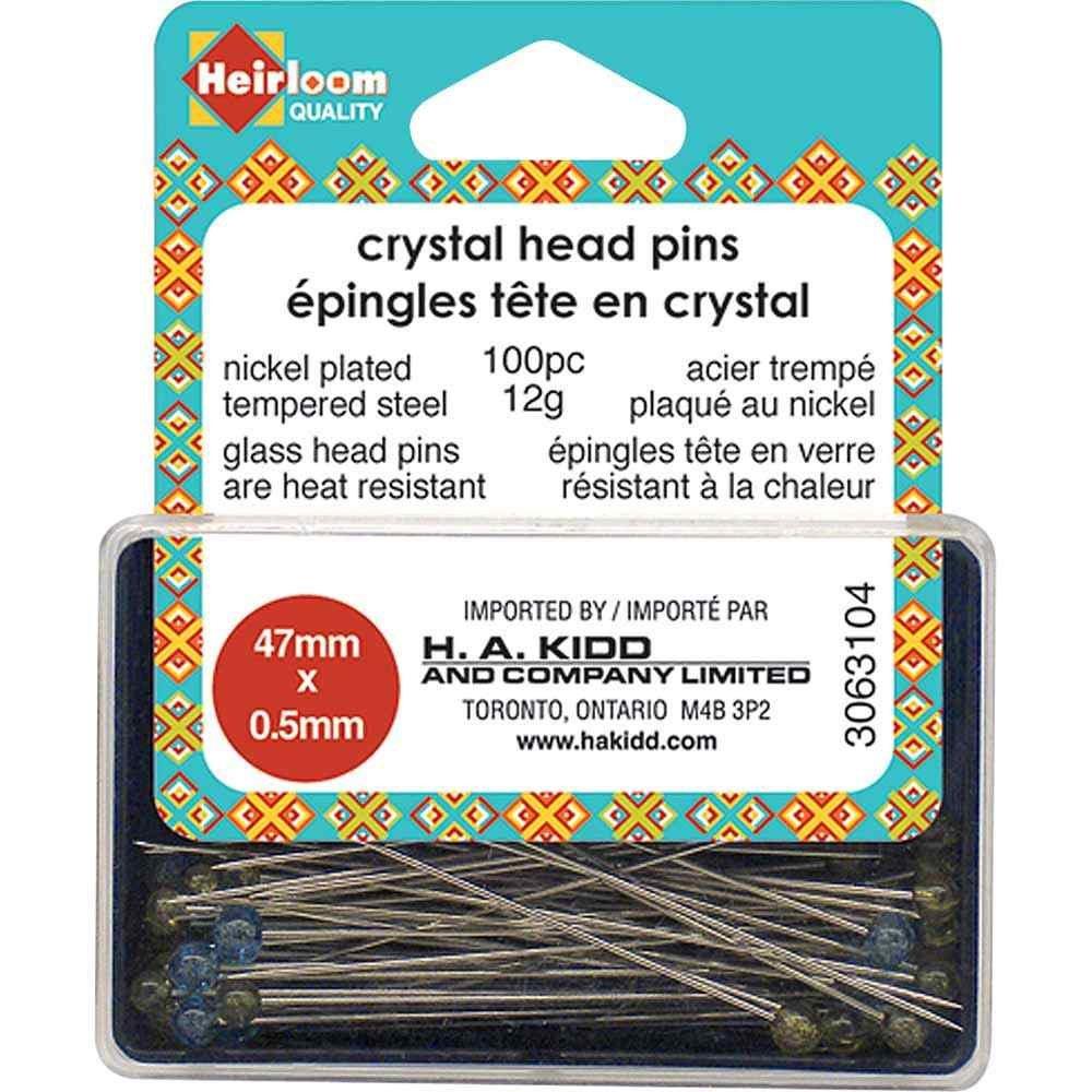 Heirloom Crystal Head Pins - Blue/Yellow - 100 Pc