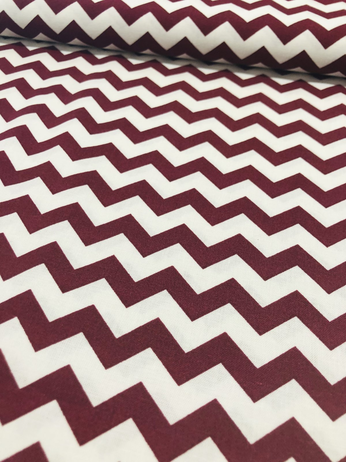 Burgundy and White Chevrons